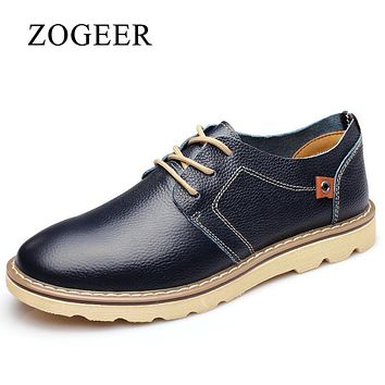 ZOGEER Size 38-45 Men Formal Shoes, Italia Business Mens Leather Shoes, Round Toe Classic Oxford Shoes For Man