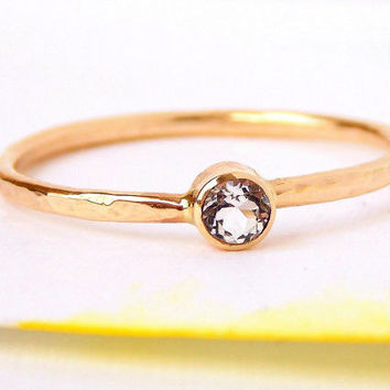 Gold White Topaz Ring w/ Hammered Band: 14k solid gold ring, white topaz, dainty ring, simple ring, gold ring, engagement ring, wedding ring