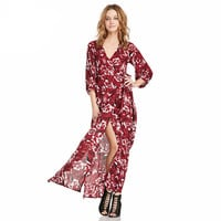 Floral Print Cuff Sleeve V-Neck with High Side Slit Maxi Dress
