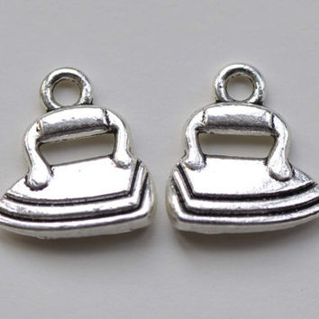 Antique Silver IRON Charms 16x17mm Set of 10 A8232