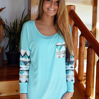 Aqua Sequin Top