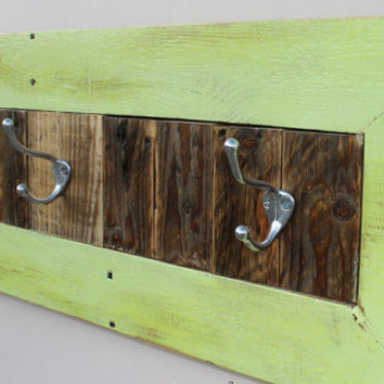 Reclaimed Wood Painted Distressed Wall Coat Hat Towel Rack Home Decor