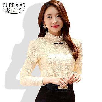 2015 new high quality women fashion lace blouse shirts autumn and winter Plus thick velvet warm Bottoming shirt Blusas 999 20