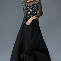 G2057 Sheer Illusion Long Sleeve Mother of Bride Evening Gown