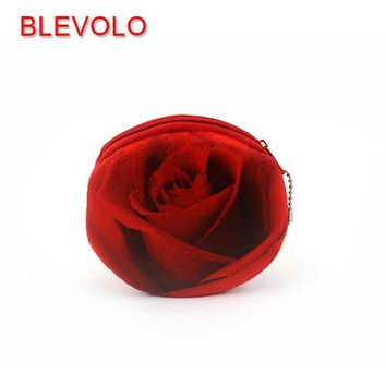 BLEVOLO 3D Rose Flower Women Girls Coin Purse Cute Plush Zipper Money Bag Pouch Bank Card Holders Coin Bags Kids Small Wallets