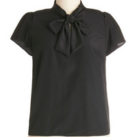 ModCloth Short Sleeves Tie for First Top in Black - Plus