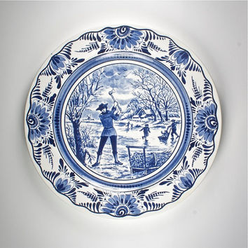 vintage french ceramic plate, blue and white dutch Delft style seasons, Winter