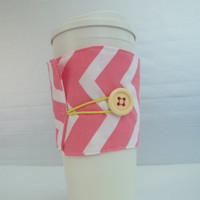 Pink Chevron Coffee Cup Cozy sleeve made with vintage button and cotton fabric