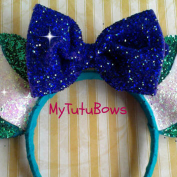 MONSTERS INC. Sully Inspired Minnie Mouse Ears Headband Glittler Sparkle Sequin Fits Children and Adults Bow Handmade