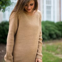 Sweet Studs Sweater, Camel