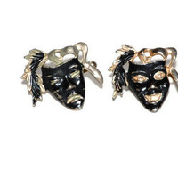Vintage Cuff Links Black Theater Masks 1970's