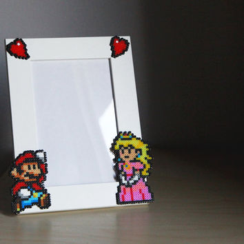 Super Mario Picture Frame - White Frame with Mario & Peach - Horizontal or Vertical