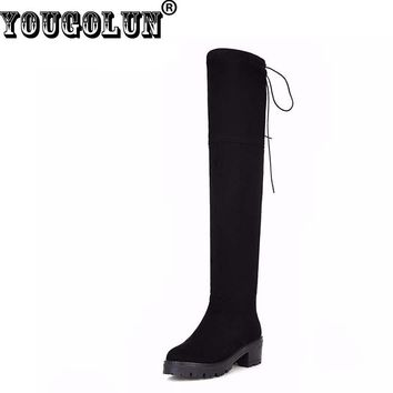 YOUGOLUN Winter Women Thigh High Boots Black Stretch Fabric Over The Knee Mid Square Heel 5cm #Z-131