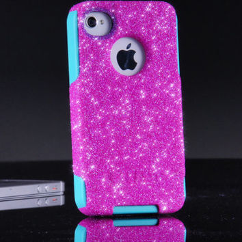 Otterbox iPhone 4 4S Custom Case - Hot Pink Glitter iPhone 4S Case - iPhone 4 4S Cover Sparkly Bling Case