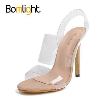 Bomlight 2017 Summer Women Sandals Clear Transparent 12 cm Heels Shoes,High Heel Gladiator shoes,Thin Heels Slip on Jelly Shoes