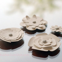 Magnet Flowers Set of 4 White Cardstock Paper Flowers Flower Favors