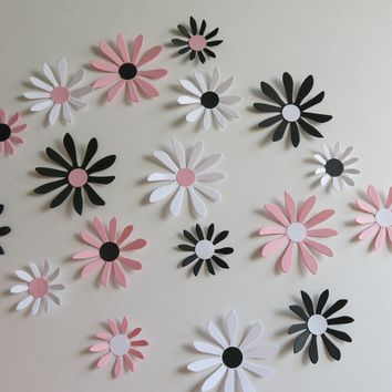"Black, Pink and White Daisies Set, 18 Big 3D Wall Decals, 2-3"" Paper Flowers, Wedding decorations, shower decor, baby nursery wall art"
