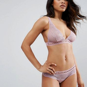 ASOS Clara Lattice Lace High Apex Triangle Bra Set in Pink at asos.com