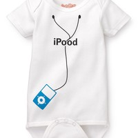 iPood in Blue Baby Bodysuit by Sara Kety - Size 0-6 or 6-12 Months - Whimsical & Unique Gift Ideas for the Coolest Gift Givers