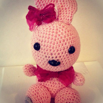 crochet rabbit amigurumi,  bunny plush doll, home decoration, easter bunny ,nursery decor, Rabbit plush toy, pink bunny