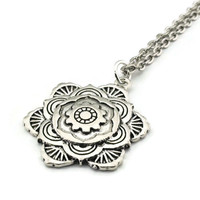 Mandala Necklace, Flower Mandala Necklace, Handmade