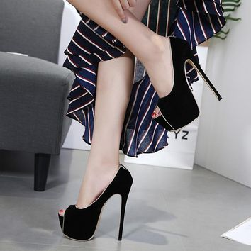 High Platform Peep Toe Solid Color Super Stiletto High Heels Club Shoes