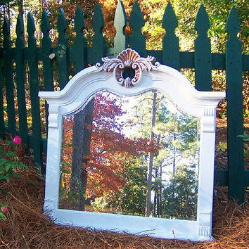 1970s Shabby Chic Beach Farmhouse Chic Furniture... 39. X. 37 1/2...MIRROR...in White shown or U Choose Color 4 Custom Painting