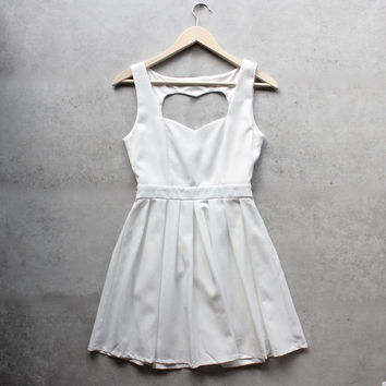 heart cut out dress - white