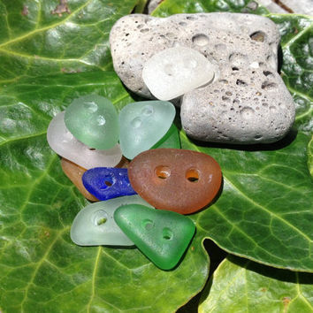 Sea Glass Buttons Genuine Beach Glass by GlassBeachSeaGlass