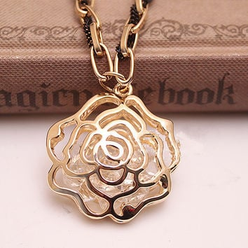 Hollow Out Golden Rose Long Clothing Chain