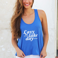 Lazy Lake Day {Blue} Tank