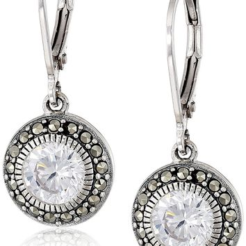 Judith Jack Sterling Silver, Cubic Zirconia, and Marcasite Drop Earrings