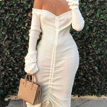 New White Drawstring Off Shoulder Backless Bodycon Long Sleeve Elegant Party Maxi Dress
