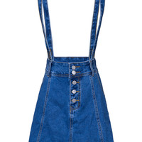 Dark Blue Button Front Denim Suspender A-line Skirt