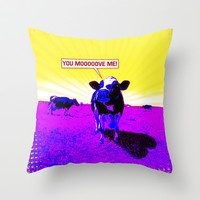Psychedelic Cows Throw Pillow by Peter Gross
