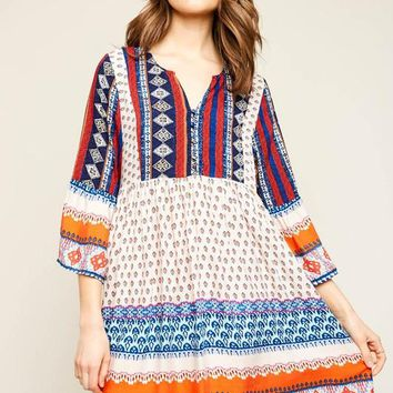 Mixed Print Boho Tunic Dress