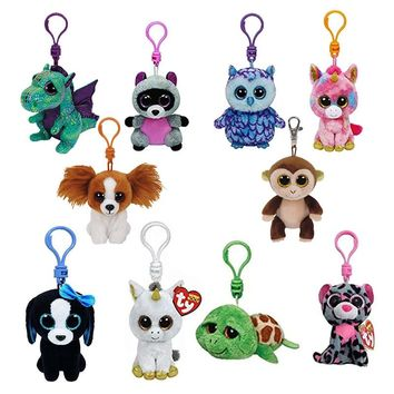Ty Beanie Boos Plush Toys Beanie Babies Big Eyes Elephant Owl Avril Rabbit Reg Pink Twigs Sly Unicorn Animal Doll Keychain