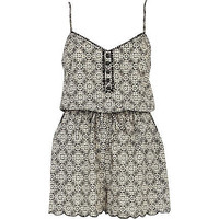 Black and white geometric print playsuit