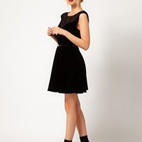 Oasis Velvet Skater Dress at asos.com