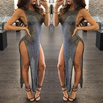 Grey Plain Sequin Irregular Side Slit Cocktail Party Maxi Dress