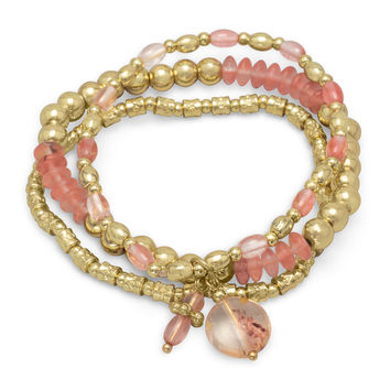 Cherry Quartz & Gold Tone Bead 3 Piece Bracelet Set