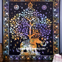 Psychedelic Elephant Tree Tapestry, Hippie wall Tapestries, Tapestry Wall Hanging, Bohemian Tapestries, Indian Mandala Bed Spread Tapestries