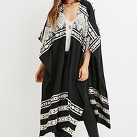 Metallic-Embroidered Poncho