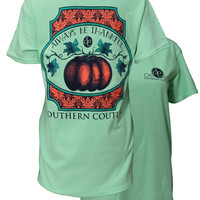 Southern Couture Always Be Thankful Fall Pumpkin Thanksgiving  Mint Girlie Bright T-Shirt