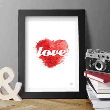 DIGITAL INSTANT DOWNLOAD. Valentines hearts Love Printable Poster Wall Art Wall deco Minimal Modern.