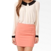 Studded Collar Blouse w/ Buttoned Back