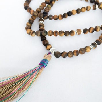 Tiger Eye Mala Beads, Mala Necklace Tassel, Prayer Beads Necklace with Tassel, Handknotted 108 mala Beads, Yoga Jewelry Healing Stone