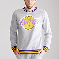 Varsity-Striped LA Lakers Sweatshirt