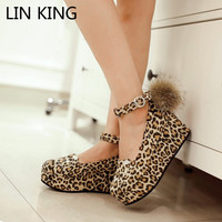 LIN KING Wedges Heel Women Pumps Ankle Strap Pom Pom Cosplay Party Shoes Cute High Heel Charms Buckle Platforms Rome Shoes