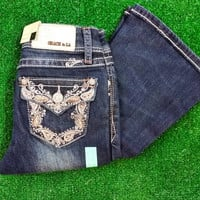 GRACE IN L.A. LITTLE GIRLS PAISLEY BOOTCUT JEANS